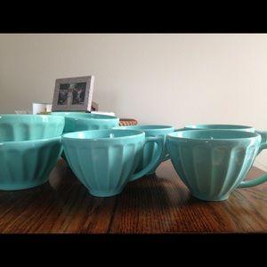 Anthropologie Teal Latte Bowl & Mug Set